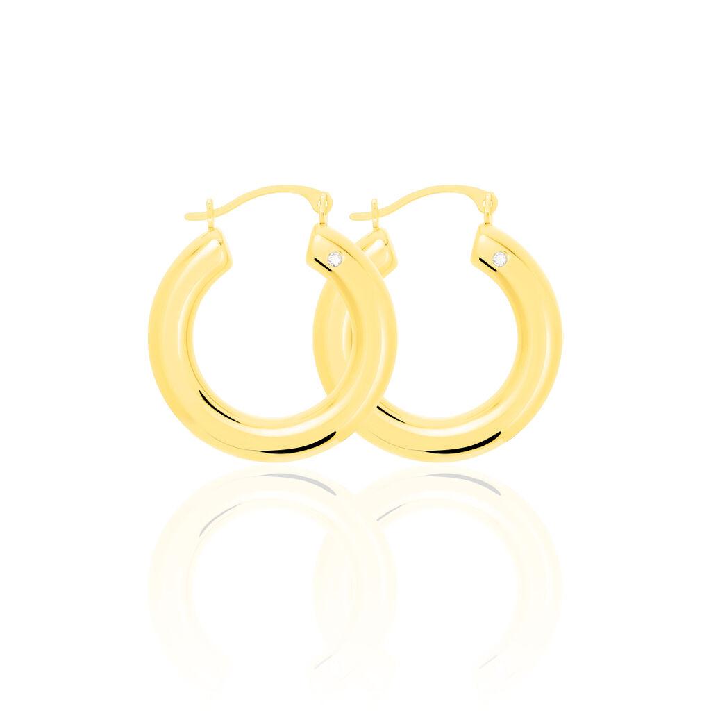 Damen Creolen Gold 375 Kristall 22mm - Creolen Damen | Oro Vivo