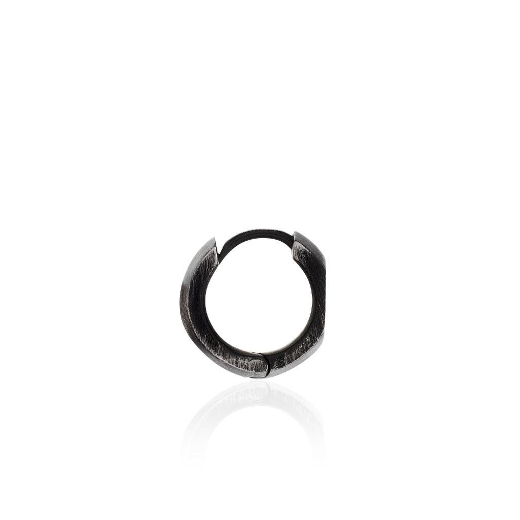 Herrencreole Edelstahl Schwarz 13,5mm - Creolen Herren | Oro Vivo