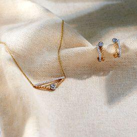 Damen Steckcreolen Gold 375 Bicolor Zirkonia  - Ohrstecker Damen   Oro Vivo