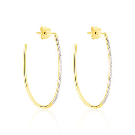 Damen Steckcreolen Gold 375 Diamanten 0,14ct  - Creolen Damen | Oro Vivo