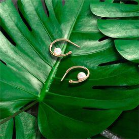 Damen Creolen Silber 925 vergoldet Zuchperle Kreis - Creolen Damen   Oro Vivo