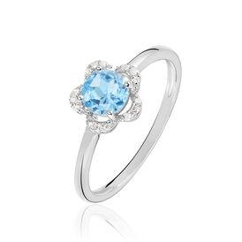 Damenring Weißgold 375 Topas Diamanten Blume - Farbsteinringe Damen | Oro Vivo