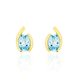 Damen Ohrstecker Gold 333 Blauer Topas  - Ohrstecker Damen   Oro Vivo