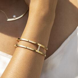 Damen Armreif Edelstahl Vergoldet Kristall - Armreifen  | Oro Vivo