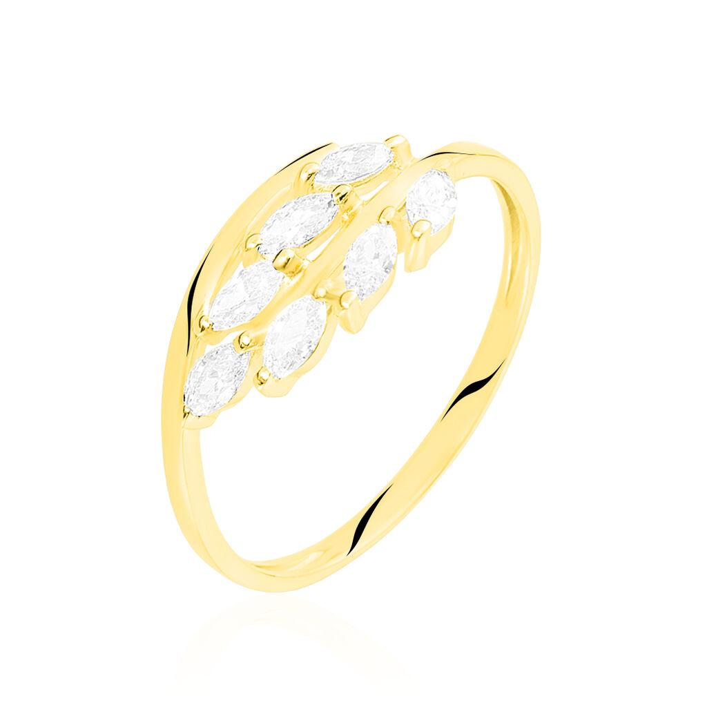 Damenring Gold 375 Zirkonia Blatt - Ringe mit Stein Damen | Oro Vivo