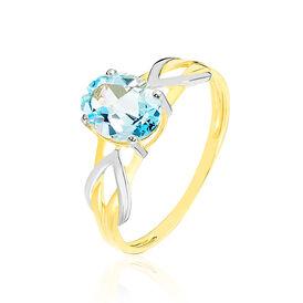 Solitärring Gold 375 Bicolor Blautopas - Ringe mit Stein Damen | Oro Vivo