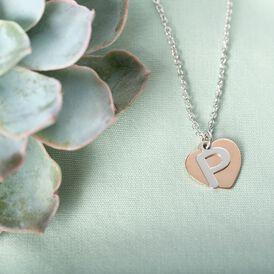 Damen Halskette Silber 925 Bicolor Buchstabe P - Herzketten    Oro Vivo