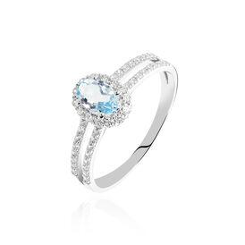 Damenring Weißgold 375 Blautopas Diamanten - Ringe mit Stein Damen | Oro Vivo