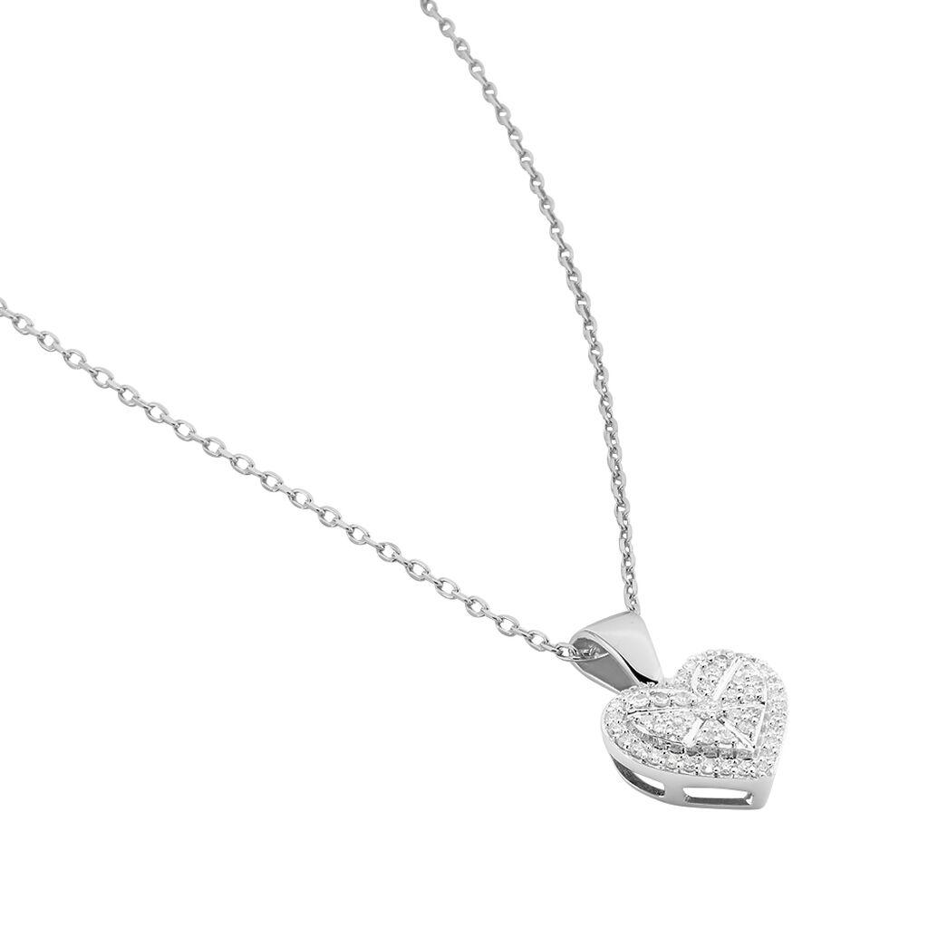 Damen Halskette Weißgold 375 Diamanten 0,11ct Herz - Herzketten Damen   Oro Vivo