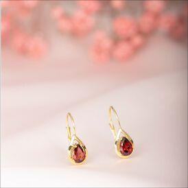 Damen Ohrhänger Gold 333 Granat  - Ohrhänger Damen   Oro Vivo