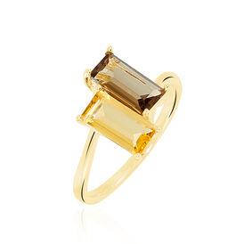 Damenring Silber 925 Vergoldet Quarz Citrin - Ringe mit Stein  | Oro Vivo