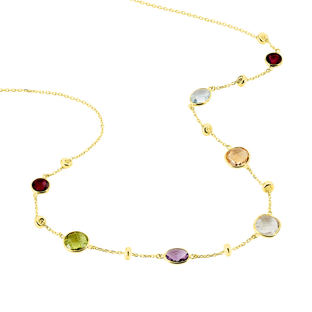 Damen Halskette Gold 375 Ametyst Peridot Topas - Ketten mit Anhänger Damen | Oro Vivo