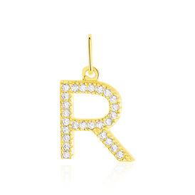 Anhänger Gold 375 Zirkonia Buchstabe R - Personalisierte Geschenke Damen | Oro Vivo