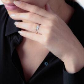Spannring Gold 375 Bicolor Diamant 0,027ct - Ringe mit Edelsteinen Damen | Oro Vivo
