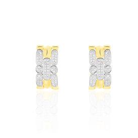 Damen Ohrstecker Gold 375 Bicolor Diamant 0,142ct  - Creolen Damen | Oro Vivo