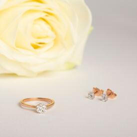 Damenring Roségold 375 Diamanten 0,16ct Blume - Ringe mit Edelsteinen Damen   Oro Vivo