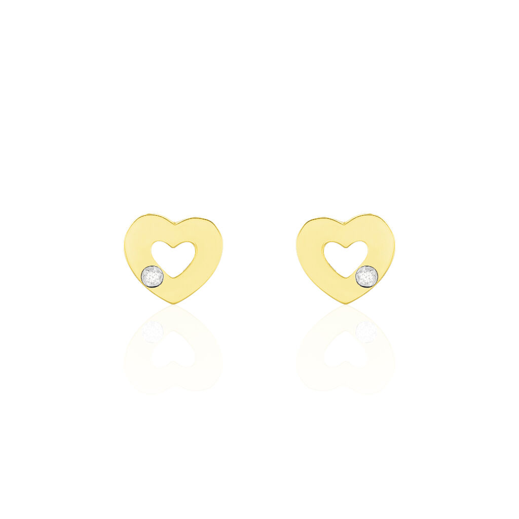 Damen Ohrstecker Gold 375 Diamant 0,008ct Herz - Ohrstecker Damen   Oro Vivo