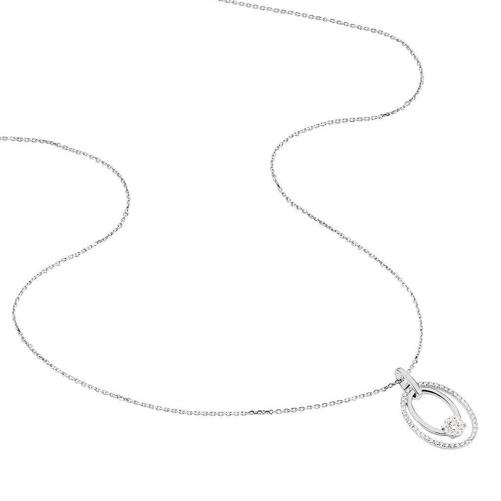 Damen Halskette Weißgold 585 Diamanten 0,22ct - Ketten mit Anhänger Damen   Oro Vivo