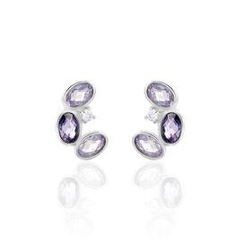 Damen Ohrstecker Silber 925 Violetter Glas  -  Damen   Oro Vivo