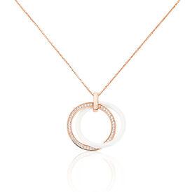 Damen Halskette Silber 925 Rosé Vergoldet Keramik - Black Friday Damen   Oro Vivo