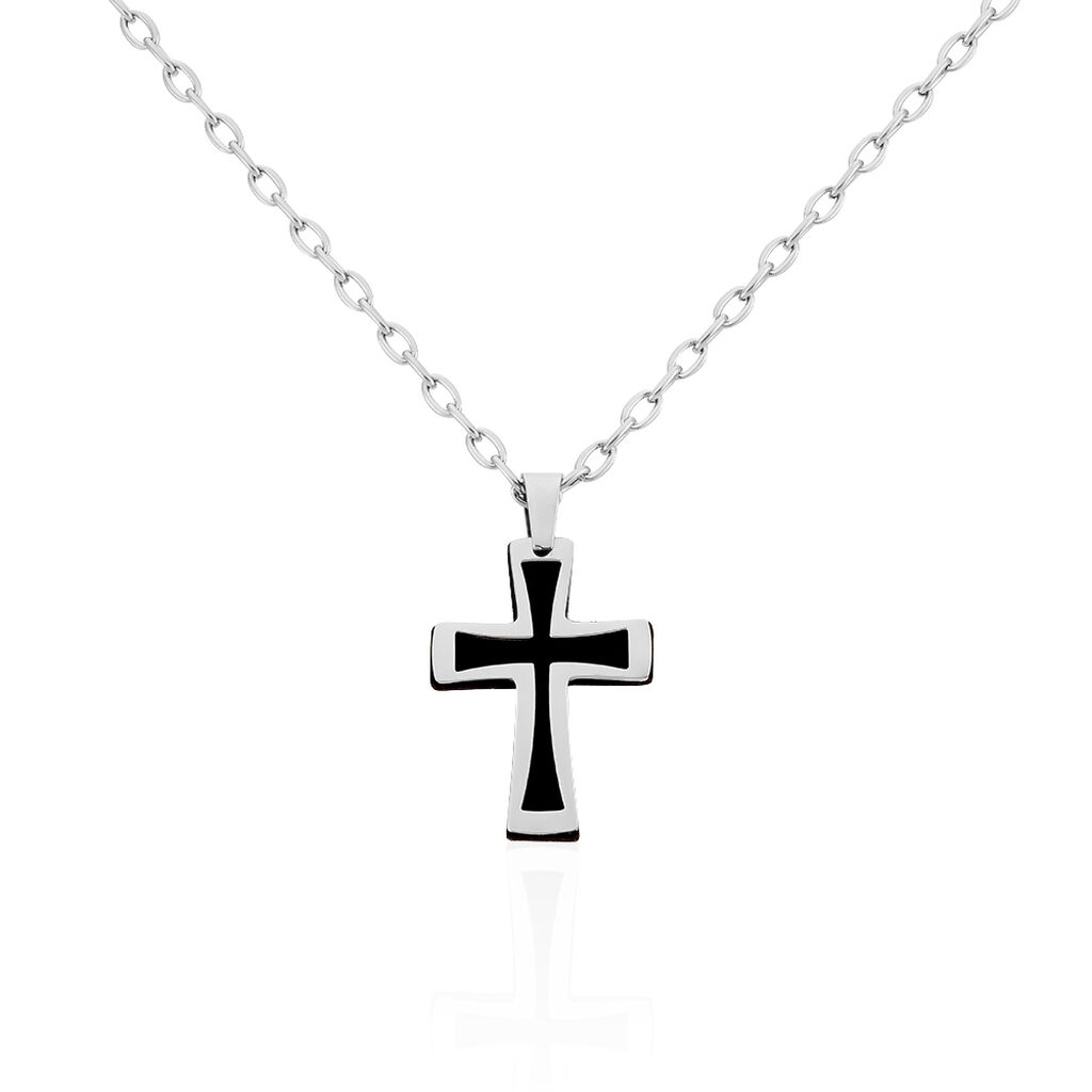 Herren Halskette Edelstahl Kreuz - Ketten mit Anhänger Herren   Oro Vivo