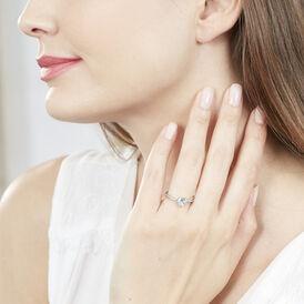 Damenring Weißgold 375 Topas Herz Diamanten -  Damen | Oro Vivo