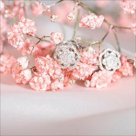 Damen Ohrstecker Weißgold 750 Diamant Blume - Ohrstecker Damen   Oro Vivo