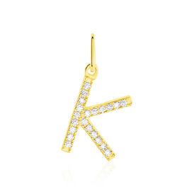 Anhänger Gold 375 Zirkonia Buchstabe K - Personalisierte Geschenke Damen | Oro Vivo