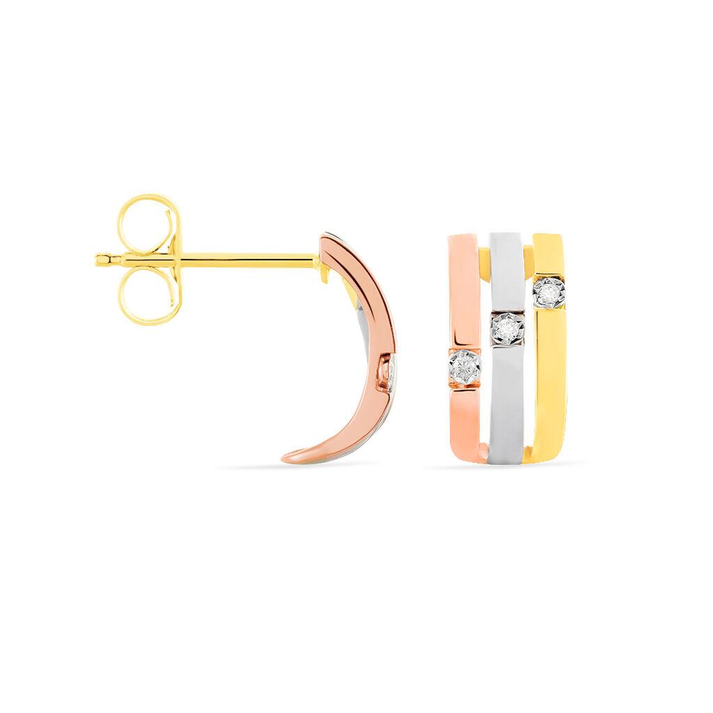 Damen Steckcreolen Gold 375 Tricolor Diamanten - Creolen Damen | Oro Vivo