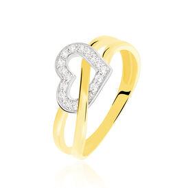 Damenring Gold 375 Bicolor Zirkonia Herz  - Ringe mit Stein  | Oro Vivo