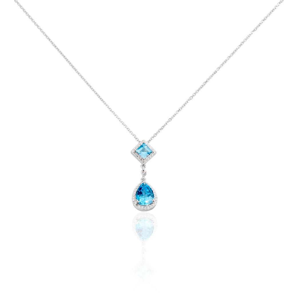 Damen Halskette Weißgold 375 Topas Diamanten - Ketten mit Anhänger Damen   Oro Vivo