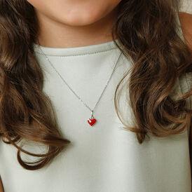 Kinder Halskette Silber 925 Glasstein Herz - Herzketten Kinder | Oro Vivo
