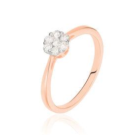 Damenring Roségold 375 Diamanten 0,16ct Blume -  Damen   Oro Vivo
