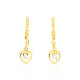 Damen Ohrhänger Gold 333 Kristalle Herz  - Ohrhänger Damen | Oro Vivo