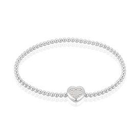 Damenkugelarmband Silber 925 Zirkonia Herz - Armbänder Damen | Oro Vivo