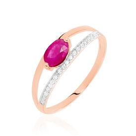 Damenring Roségold 375 Rubin Diamanten 0,06ct - Ringe mit Edelsteinen Damen | Oro Vivo