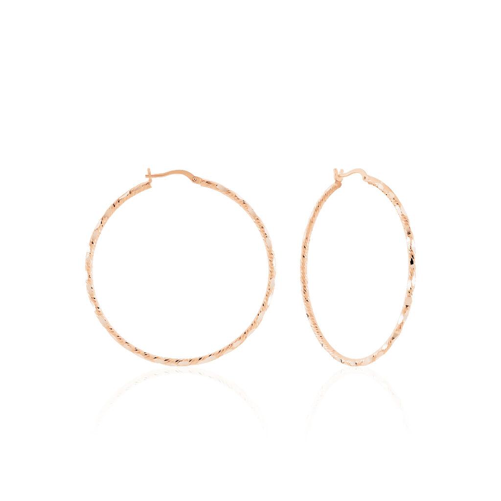 Damen Creolen Silber 925 Rosé Vergoldet 45mm - Creolen Damen   Oro Vivo