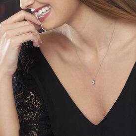 Damen Halskette Weißgold 375 Topas - Schmuck Damen   Oro Vivo