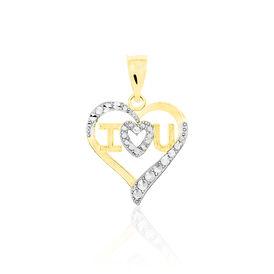 Anhänger Gold 375 Bicolor Zirkonia Herz  - Herzanhänger Damen | Oro Vivo