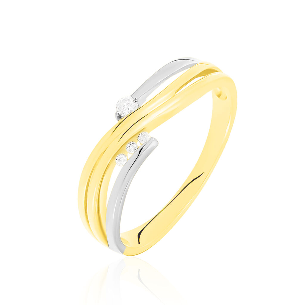 Damenring Gold 585 Bicolor Diamanten 0,08ct - Ringe mit Edelsteinen Damen   Oro Vivo