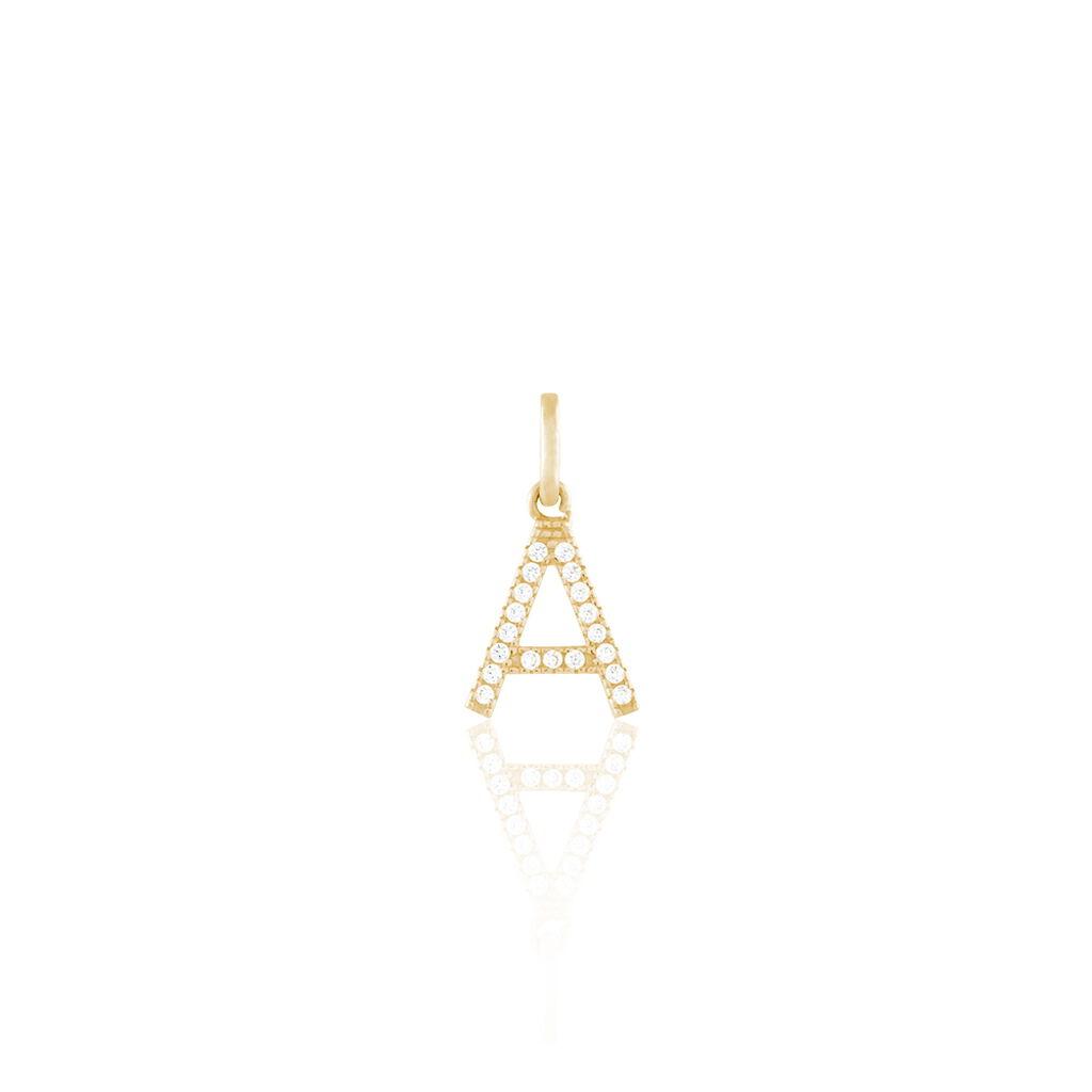 Anhänger Gold 375 Zirkonia Buchstabe A - Personalisierte Geschenke Damen | Oro Vivo