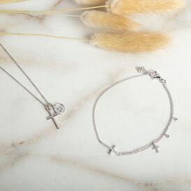 Damen Halskette Silber 925 Rhodiniert Kreuz Engel - Ketten mit Anhänger Familie   Oro Vivo