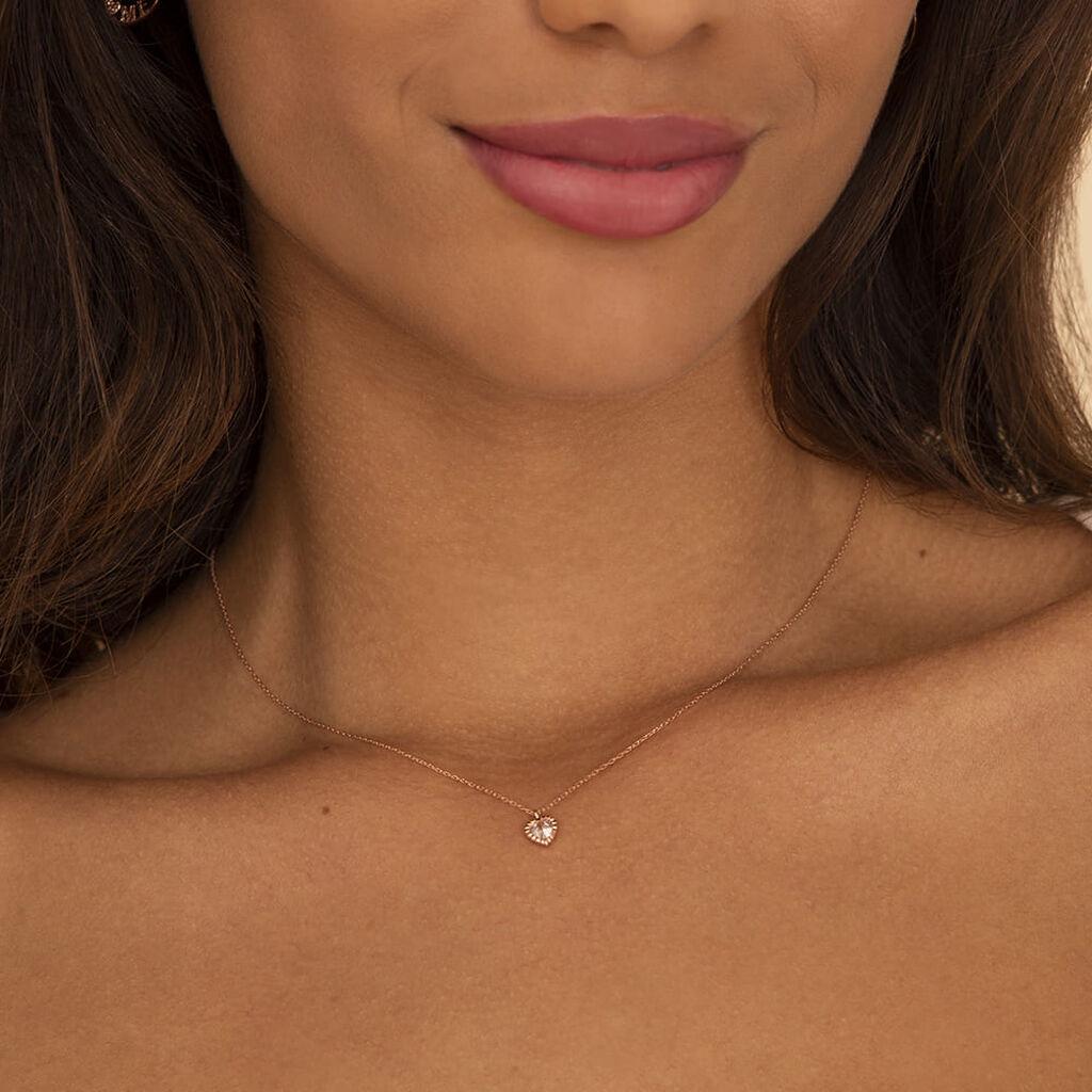 Damen Halskette Gold 375 Rosé Vergoldet Zirkonia - Herzketten Damen | Oro Vivo