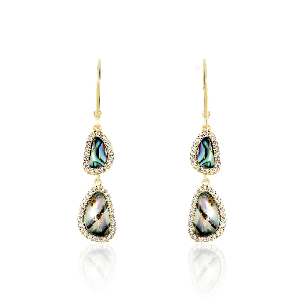 Damen Ohrhänger Lang Silber 925 Vergoldet Perlmutt - Ohrhänger Damen | Oro Vivo