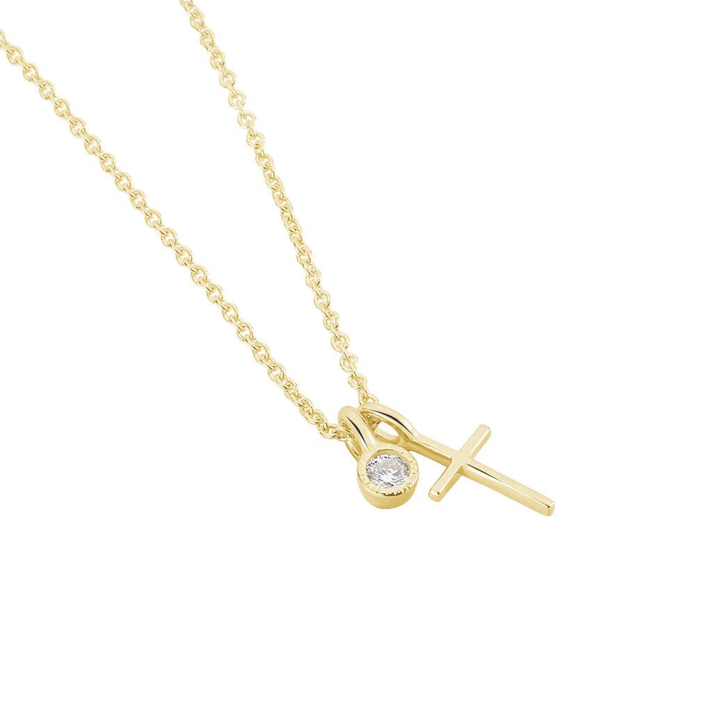 Damen Halskette Silber 925 Vergoldet Zirkonia Kreuz - Ketten mit Anhänger Damen | Oro Vivo