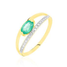 Damenring Gold 375 Smaragd Diamanten 0,04ct - Ringe mit Edelsteinen Damen | Oro Vivo