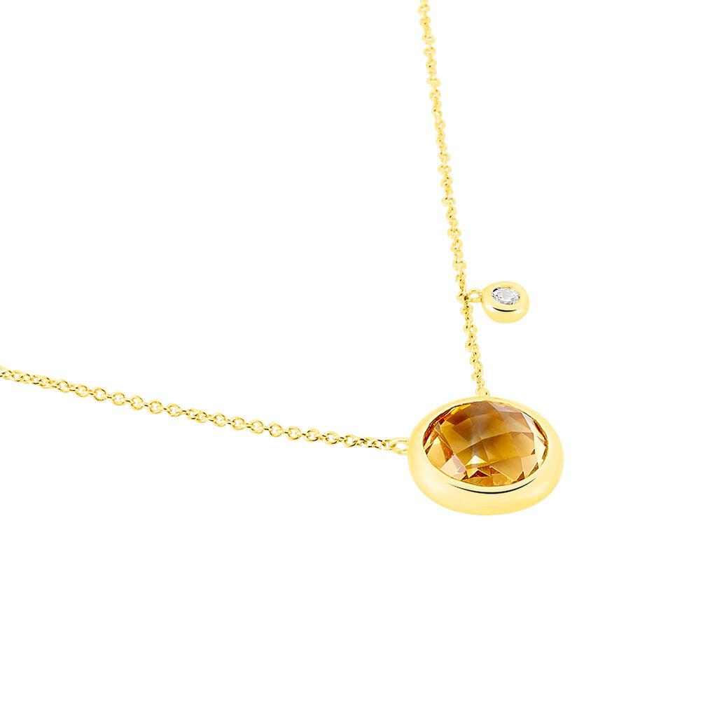 Damen Halskette Gold 375 Zirkonia Citrin - Ketten mit Anhänger Damen   Oro Vivo