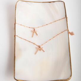 Damen Halskette Silber 925 Rosé Vergoldet Kreuz - Ketten mit Anhänger Damen   Oro Vivo