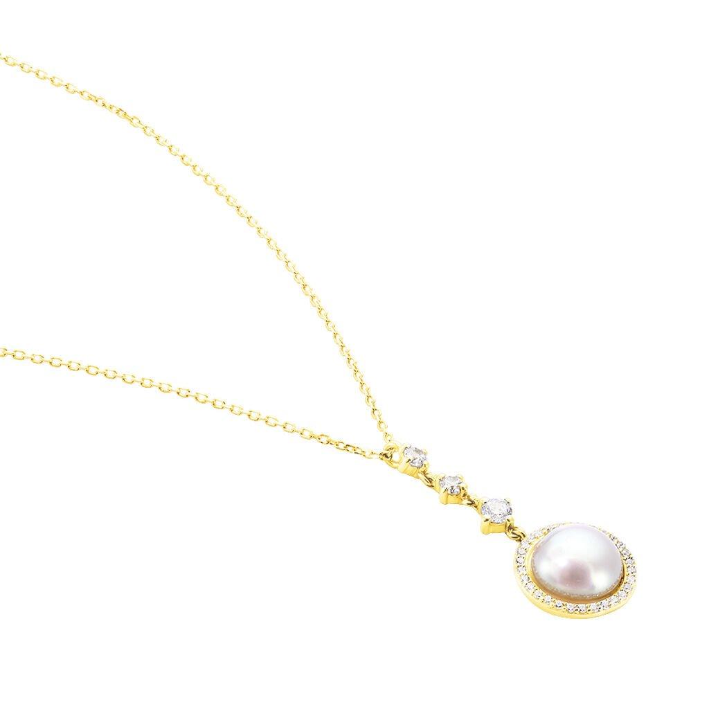 Damen Halskette Gold 585 Zirkonia Zuchtperle - Ketten mit Anhänger Damen | Oro Vivo