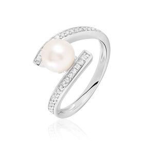 Damenring Silber 925 Zirkonia Synthetische Perle -  Damen | Oro Vivo
